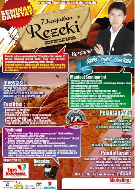 Brosur seminar 7 Keajaiban Rezeki Ippho Santosa Malang dan Madura
